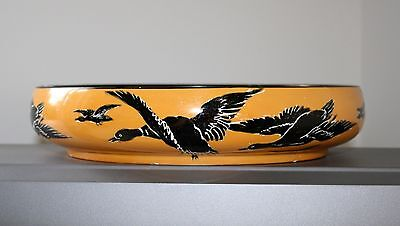 """Very Rare Grimwades Flying Ducks/geese Large 10 1/2"""" Art Deco Bowl"""