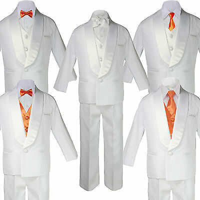 5-7pc Baby White Satin Shawl Lapel Suits Tuxedo Orange Satin Bow Necktie Vest