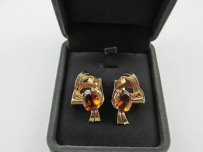 Rare Vintage 18k Solid Yellow Gold Sepessartite Garnet Gemstone  Earrings