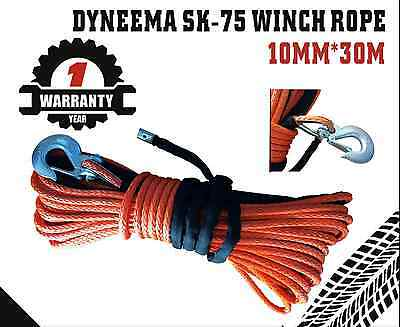 10MM x 30M Dyneema SK75 Winch Rope Hook Synthetic Car Tow Recovery Cable 4X4 4WD