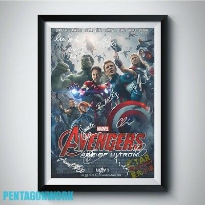 THE AVENGERS AGE OF ULTRON Movie Full Casts Autograph Reprint Poster A4 A3 5R