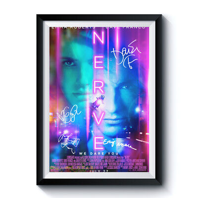 NERVE Movie Casts Autograph Reprint Poster A4 A3 EMMA ROBERTS DAVE FRANCO