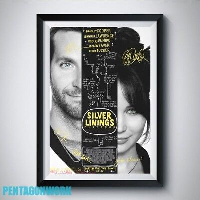 SILVER LININGS PLAYBOOK Movie Cast Autograph Reprint Poster A4 JENNIFER LAWRENCE