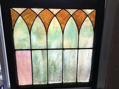 Antique Original Stained Leaded Glass Window From Chicago Estate  30 X 30 Beauty