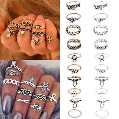 10Pcs/ Set Retro Silver/Gold Boho Fashion Arrow Moon Midi Finger Knuckle Rings