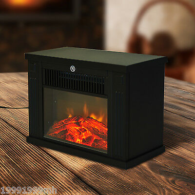 Mini Tabletop Electric 1000W Fireplace Fire Flame Stove Heater Heat Home