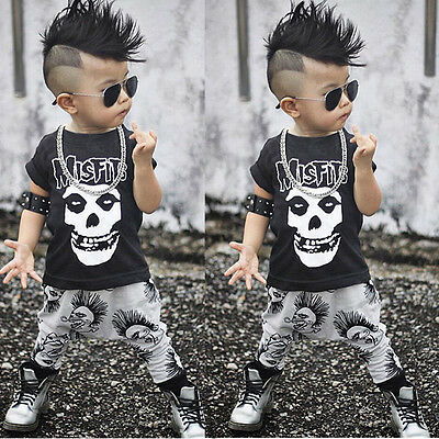 2PCS Set Newborn Toddler Kids Baby Boys Skull Outfits Clothes T-shirt Tops+Pants