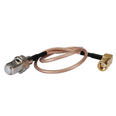 """F-Type female bulkhead to SMA male right angle Pigtail cable RG316 15cm 6"""" wifi"""