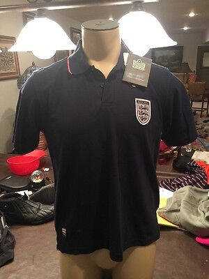 Nwt Mens ADMIRAL for English Navy Blue Knit Polo /Soccer/Sm/England Shield Logo
