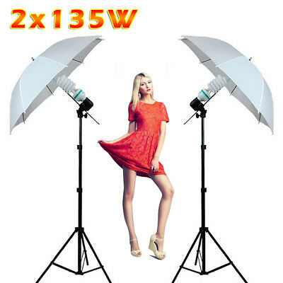 135W Continuous Lamp Bulb Photography Photo Umbrella light Stand Studio Kit Set