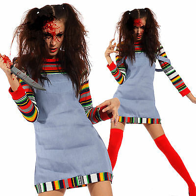 Halloween Cosplay Costume Donna di Chucky Doll Bambola Assassina Horror T.U.
