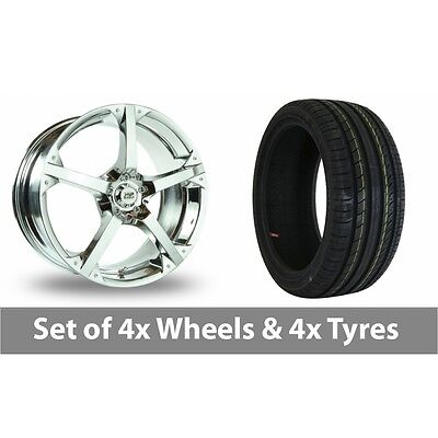 "4 x 17"" BK Racing 300 Chrome Alloy Wheel Rims and Tyres -  205/40/17"