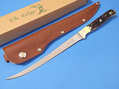 "Elk Ridge ER146 FILLET Knife Imitation Stag full tang blade 12 1/4"" overall NEW!"
