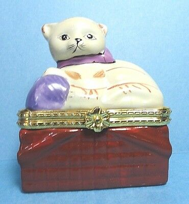 Porcelain  Cat On A Basket Hinged Trinket Box  #3