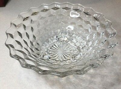 "Colony Glass Whitehall/ Fostoria Clear Crystal Tri-Footed Bowl 10"" 3 Footed Cube"