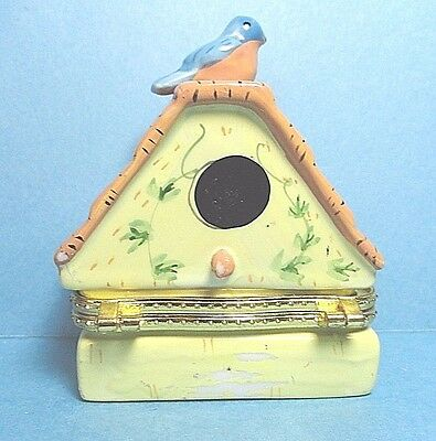 Porcelain Bird House Hinged Trinket Box #2
