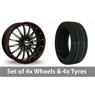 "4 x 17"" Team Dynamics Jet RS Black Red Alloy Wheel Rims and Tyres -  205/40/17"