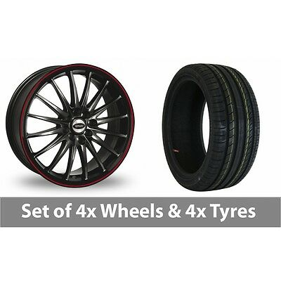 """4 x 15"""" Team Dynamics Jet RS Black Red Alloy Wheel Rims and Tyres -  195/50/15"""