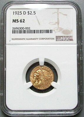 1925 D Gold  $2 1/2 Indian Head Quarter Eagle Coin Ngc Mint State 62
