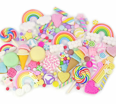 6 / 10 / 15pcs CLAY Cabochon with/ without Sprinkles Rainbow Mix Set Decoden