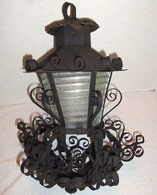 Vintage Spanish Revival Mediterranean Boho Gothic Hanging Scroll Lamp