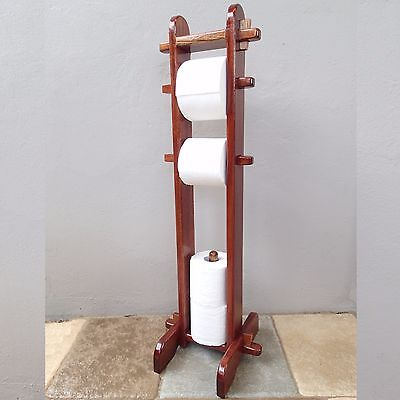Toilet Paper Roll Freestanding Wooden Fathers Day Man Cave Holder Stand timber