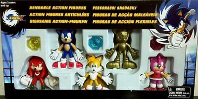 """Sonic X 3"""" Sonic the Hedgehog Tails Knuckles Amy Rose Gold Sonic Bendable set NW"""