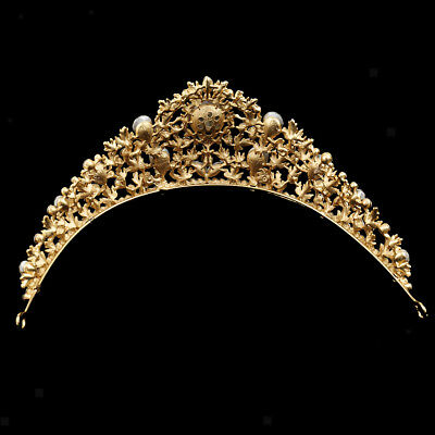 Gold Crystal Rhinestone Wedding Bridal Crown Prom Pageant Tiara Hair Jewelry