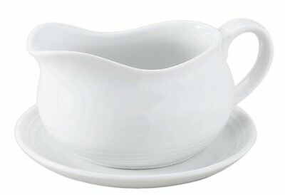 HIC Hotel Gravy Sauce Boat with Saucer Stand, Fine White Porcelain (NT750)Pack 1