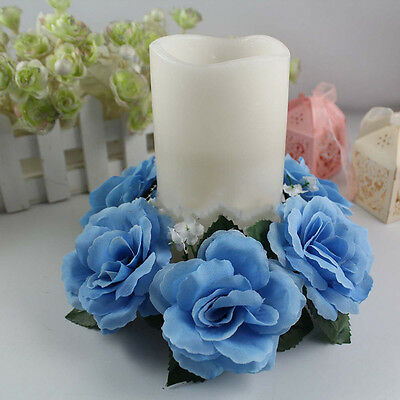 Newest Candle Rings Handmade Flower Rose Wedding Tabletop Centerpieces Decor
