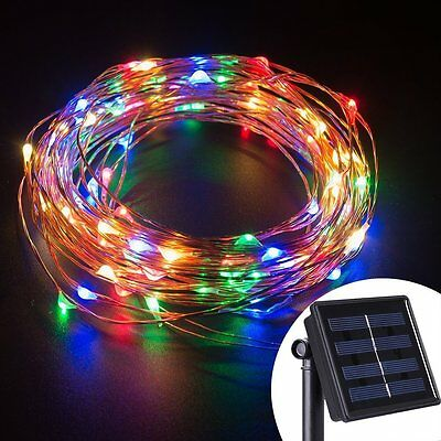 100 LED Solar Powered Starry String Light Copper Wire Lights Ambiance Light