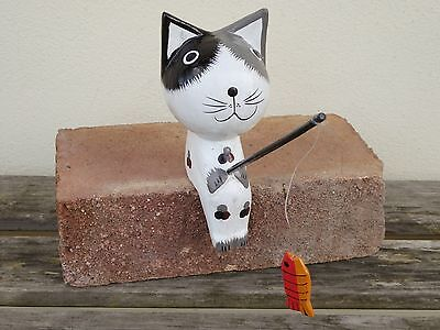 Black & White Fishing Cat Wooden Hand Carved 15cm.....