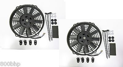 "2 x 9"" (22cm) Universal Radiator Electric Cooling Fans with Fitting Kit Slimline"