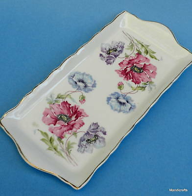 James Kent Old Foley Cracker Tray 11in Serving Plate 6474 Pink Blue Poppies Vtg