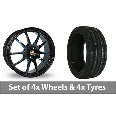 "4 x 17"" Calibre Friction Black Blue Alloy Wheel Rims and Tyres -  205/40/17"