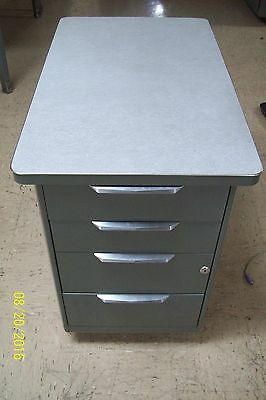 Vintage ALL-STEEL EQUIPMENT MOBILE DRAWER METAL OFFICE DESK  STACK