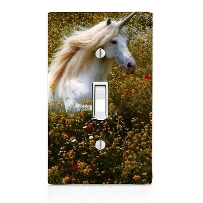 Unicorn in Field of flowers, Light Switch Cover, Home Decor, Bathroom Decor