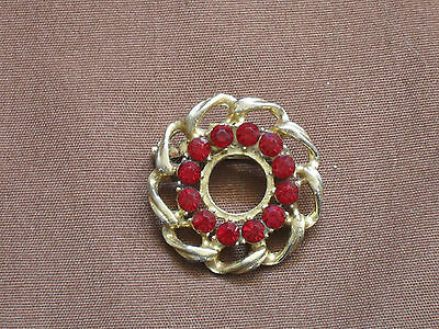 "Vintage Gold Tone Round 1-1/4"" with 12 Ruby Stones Brooch"