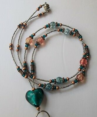Dark *COPPER SKY HEART* Beaded Lanyard, ID Name Badge Holder