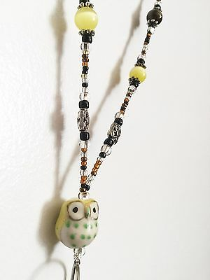 *The Fabulous Mr. OWL* Beaded Lanyard ID Name Badge Holder