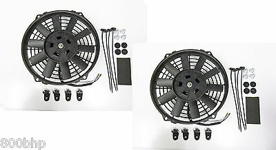 """2 x 9"""" (22cm) Universal Radiator Electric Cooling Fans with Fitting Kit Slimline"""