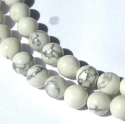 "16"" Strand Of Small Beautiful Marbled White Stone Beads"