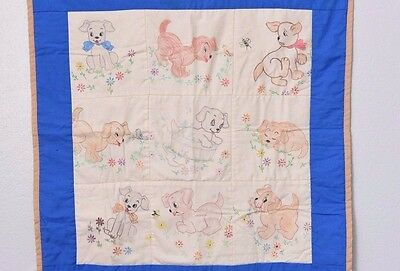 Dog Blanket Blue White Brown Handmade Hand Colored Puppy Unique 26X27""