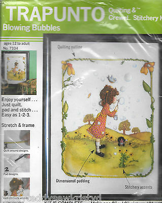 Vintage 1977 Trapunto quilting & crewel stitchery kit blowing bubbles #7334 USA