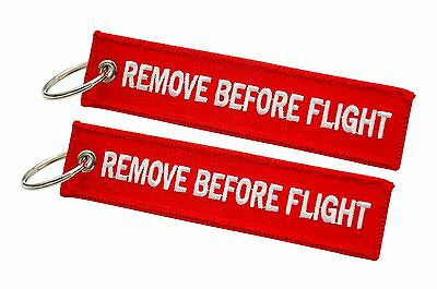 Red Remove Before Flight Keychain   Keyring   Luggage Tag   x 2   High Quality