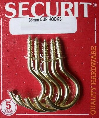 """Brass Plated Screw In Shouldered Cup Hooks 38mm 1.5"""" Pack of 5 By Securit S6314"""