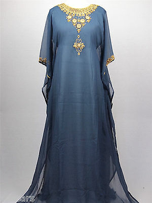 Eid Special Grey and Gold Farasha with All Over Back Detail Kaftan Jilbab Dress