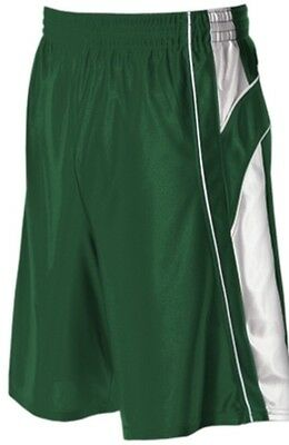 NEW IN WRAPPER Alleson 547P YOUTH Large Varsity Green & White Basketball Short