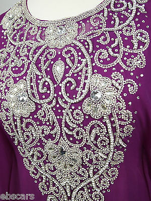 Plum and Silver Crystal Diamante Back Detail Farasha Maxi Dress Kaftan Abaya New