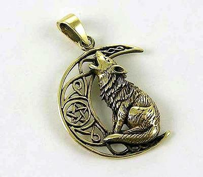 *bronze Howling Wolf With Crescent Moon Pendant & Waxed Cord Necklace**